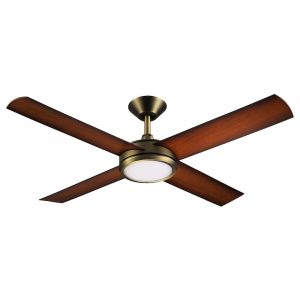 "Concept 3 52"" AC Ceiling Fan Antique Brass with Koa Blades with LED Light"