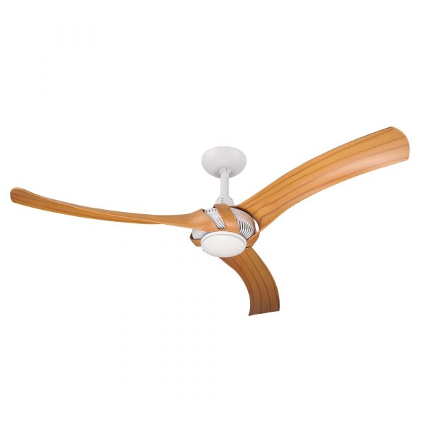 """Aeroforce 2 60"""" AC Ceiling Fan White with Bamboo Blades"""