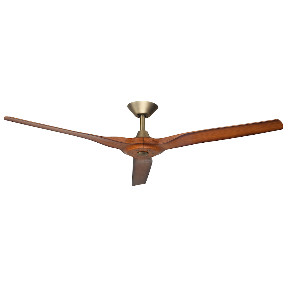 Radical 2 60 Quot Dc Ceiling Fan Antique Brass With Koa Blades Harvey Norman