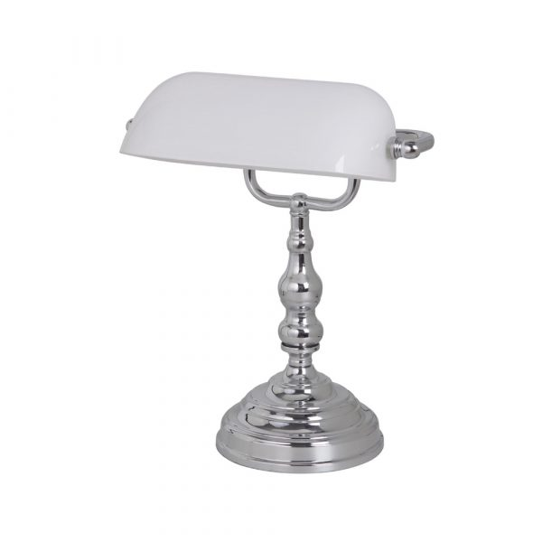BANKERS TABLE LAMP CH/WH