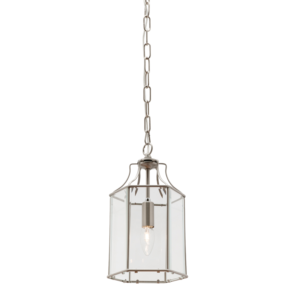 Arcadia1 Light Pendant Satin Chrome Harvey Norman